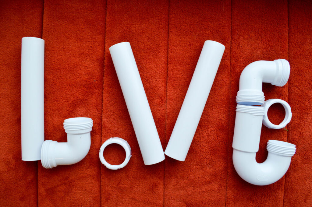 Pipes and connectors spelling out the word LOVE